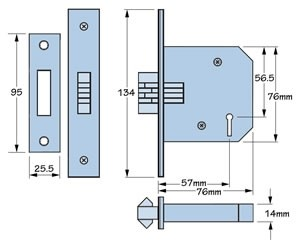 Sliding door 3 lever lock, Stainless steel - dimensions