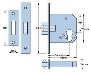 Imperial Locks G7006 mortice sliding euro lever lock - dimensions