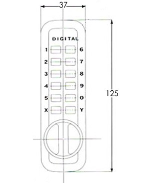 Little Lockey L235 digital lock - dimensions