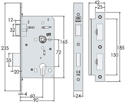 UNION HD72SL 72mm centres DIN sash lock - dimensions
