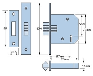 Imperial Locks G3006 mortice sliding door 3 lever lock - dimensions