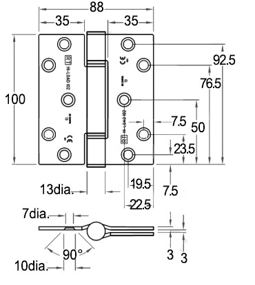 H102 Royde and Tucker Hi-Load fixed pin hinge - dimensions