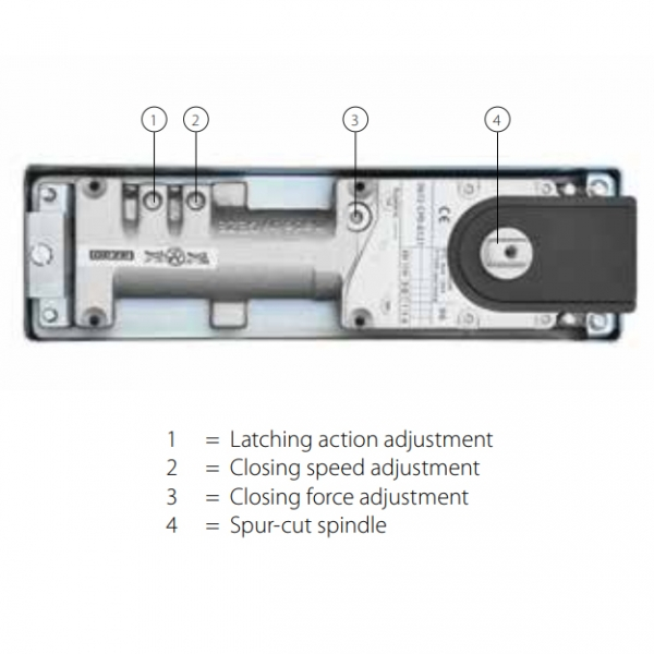 GEZE TS500 NV Floor spring door closer - adjustments