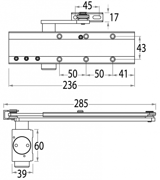 SYNERGY S800 door closer EN2-5 - dimensions