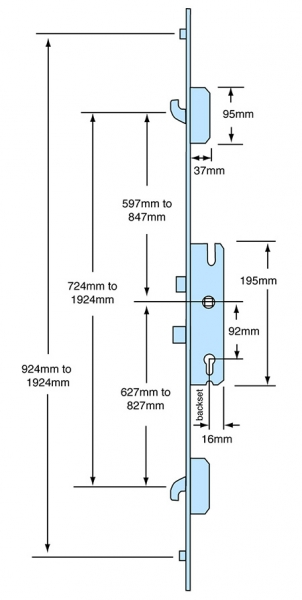 Multipoint locks sets - dimensions