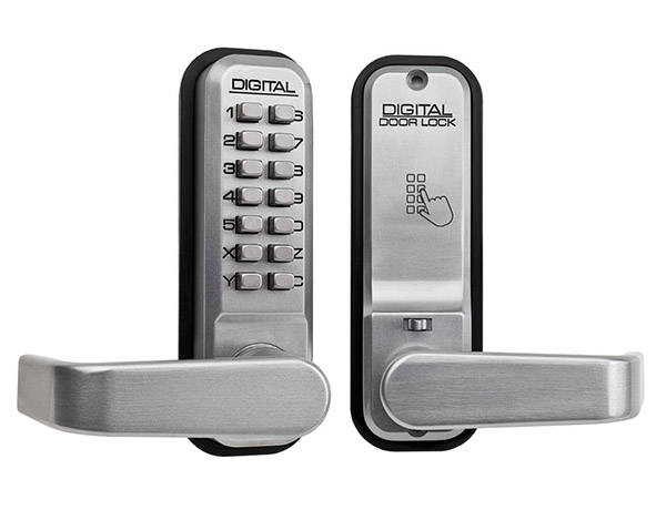 Lockey L2835 - Digital lock, satin chrome - reversible lever handles, hold back facility and passage function