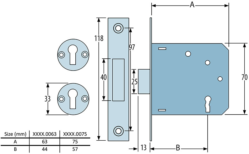 PERRYSHIELD 5012 3 lever deadlock - dimensions
